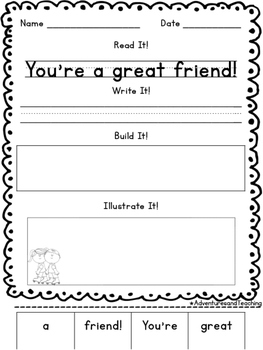 Friendship Sentence Builders {morning work, word work, daily 5, & centers}