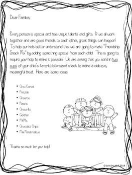 Friendship Snack Parent letter