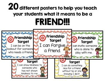 Friendship Target Posters! w/Cute Kiddos! Teach Friendship Skills Every Day!
