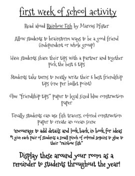 {Friendship Tips} Rainbow Fish after reading activity