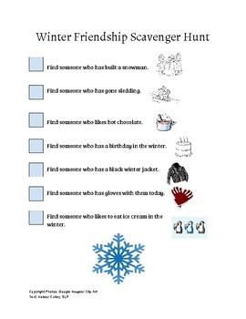 Friendship Winter Scavenger Hunt