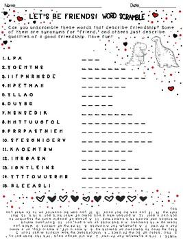 Valentine's Friendship Word Scramble