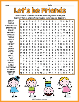 Friendship Activity - Friendship Word Search