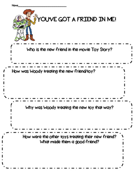 Friendship- You Got a Friend In Me- Toy Story Activity