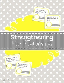 Friendship and Social Skills Cards - Strengthening Peer Re