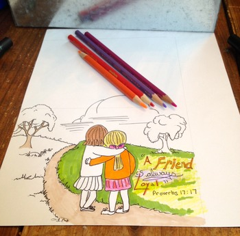 Friendship coloring card