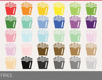 Fries Digital Clipart, Fries Graphics, Fries PNG, Rainbow Fries Digital Files
