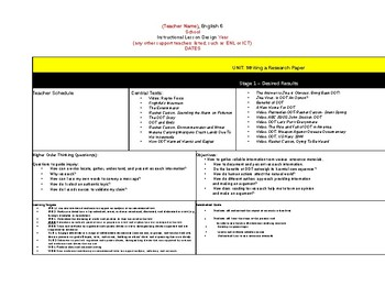 Frightfuls Mountain Th Grade English NYS Module UBD Lesson - Ubd lesson plan template