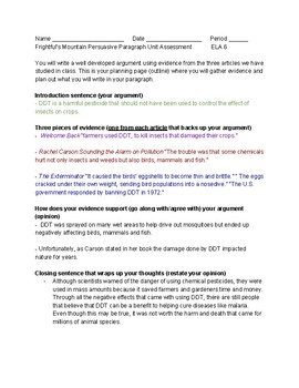 Frightful's Mountain Persuasive Paragraph Unit Assessment with Teacher Model