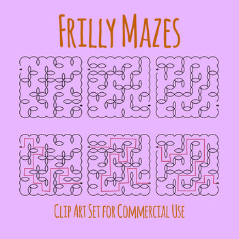 Frilly Mazes - Problem Solving Clip Art for Commercial Use