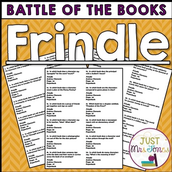 Frindle Battle of the Books Trivia Questions