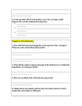 Frindle Book Study Questions