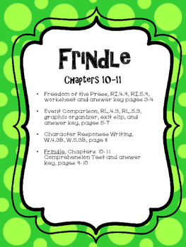 Frindle CCSS Novel Study Unit for Chapters 10-11