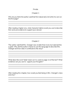Frindle Chapter Questions