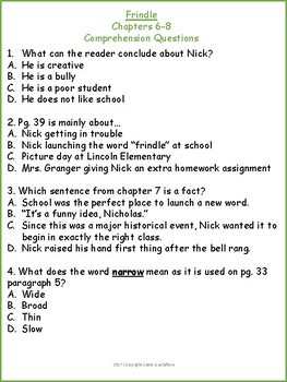 Frindle Chapters 6-8 Comprehension Questions