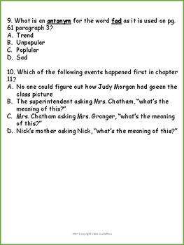 Frindle Chapters 9-11 Comprehension Questions