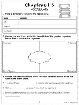 Frindle: Comprehension and Vocabulary by chapter
