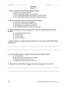 Frindle STAAR Comprehension Questions w/ Character, Plot, Fluency Practice
