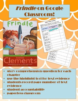 Frindle Comprehension Questions with Text Evidence Paperless Google Classroom