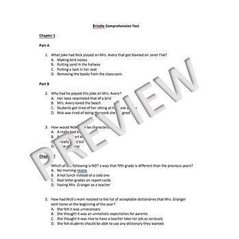 Frindle Comprehension Test