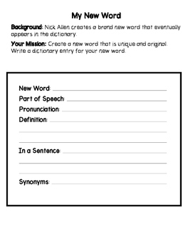 Frindle - Creating a New Word Activities Bundle