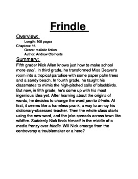 Frindle Guided Reading Packet