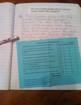 Frindle Journal Responses & Reading Mini Lessons