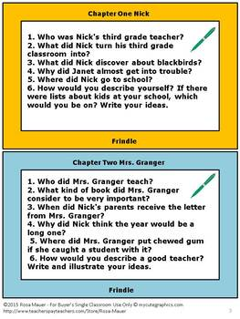 Frindle Chapter by Chapter Comprehension Questions