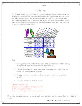 Frindle Logic Puzzle to Accompany Novel by Andrew Clements