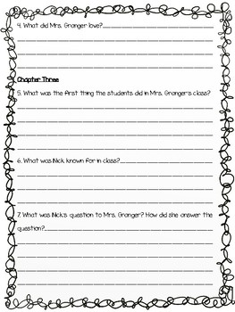 Frindle by Andrew Clements Open Book Quiz Chapters 1 - 7