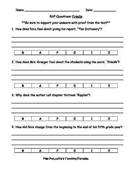 Frindle RAP Questions - quiz OR constructed response activity