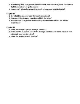 Frindle Reading Response Questions