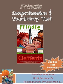 Frindle Reading Street Grade 5 Comprehension and Vocab Test