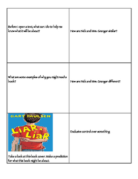 Frindle Review Challenge Cards