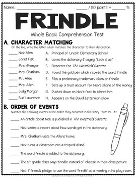 Frindle Test: Final Book Test with Answer Key