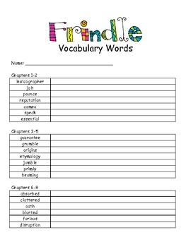 Frindle Vocabulary