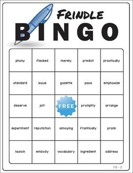 Frindle Vocabulary Bingo