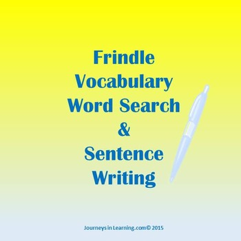 Frindle Vocabulary Word Search & Sentence Writing