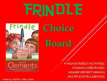 Frindle by Andrew Clements Choice Board Tic Tac Toe Novel