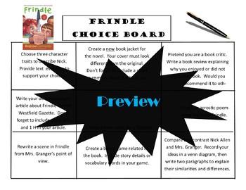 Frindle Choice Board Tic Tac Toe Novel Activities Menu Book Project Assessment