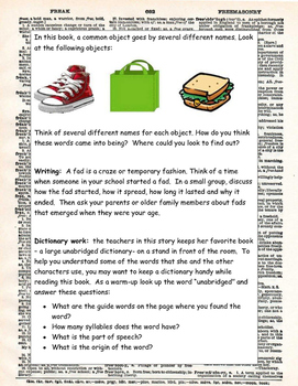 Frindle by Andrew Clements ELA Novel Literature Study Guide Complete