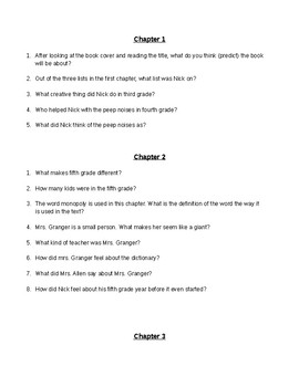 Frindle (by Andrew Clements) Novel Study