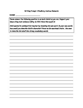 Frindle by Andrew Clements Writing Prompt on Character