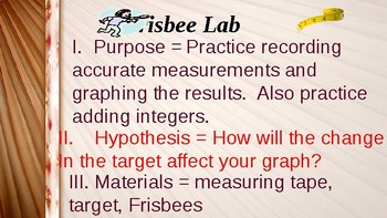 Frisbee Throwing Integer and Absolute Value Lab