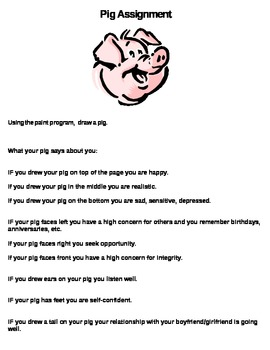 Frist Day of School-Pig Assignment