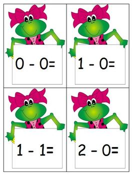 Frog Addition/SubtractionFlash Cards - Teacher and Student sizes