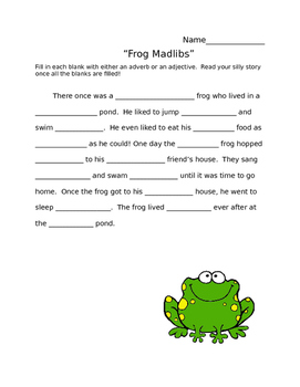 Frog Adjective-Adverb Madlib