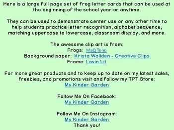 Green Frog Alphabet Letter Posters / Word Wall Headers