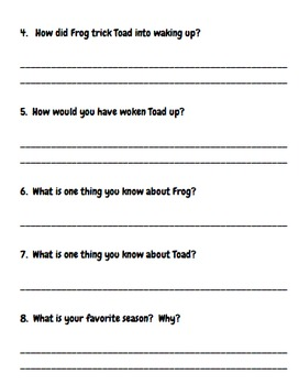 Frog And Toad Are Friends--Spring Reading Comprehension and Response