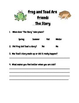 Frog And Toad Are Friends, The Story Reading Comprehension and Response